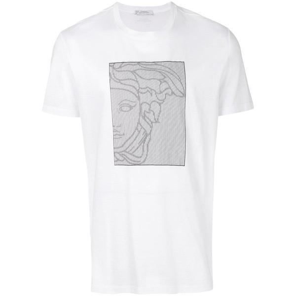 7a399f9f VERSACE COLLECTION Optical Medusa Print T-Shirt, White – OZNICO