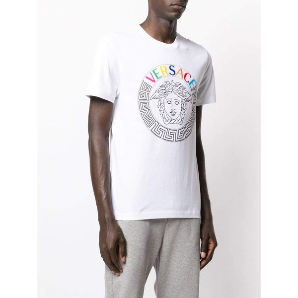 VERSACE Embroidered Logo Medusa T-Shirt, White-OZNICO