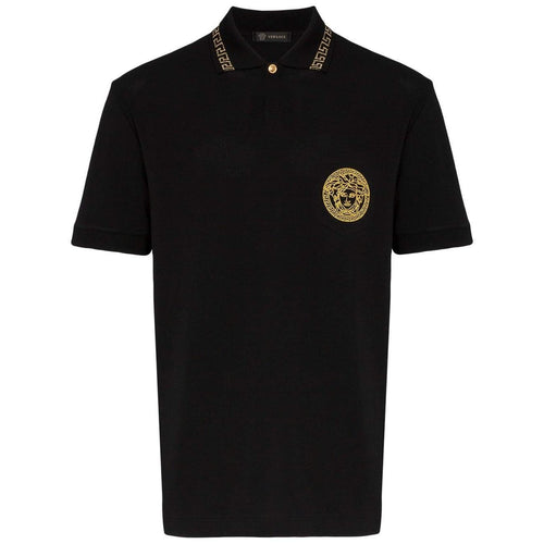 VERSACE Embroidered Medusa Polo, Black-OZNICO