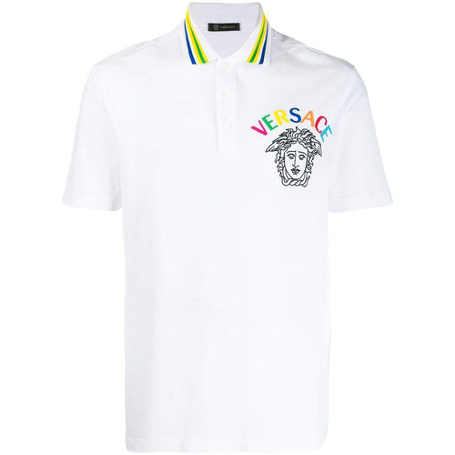 VERSACE Embroidered Medusa Polo Shirt, White-OZNICO