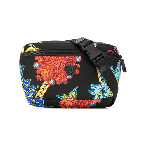 VERSACE Gemstone Print Belt Bag, Multi/ Black-OZNICO