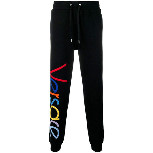 VERSACE Logo-Embroidered Sweatpants, Black-OZNICO