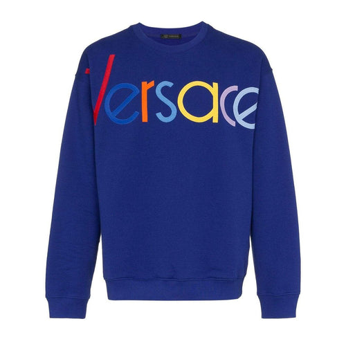 VERSACE Logo Embroidered Sweatshirt, Blue-OZNICO