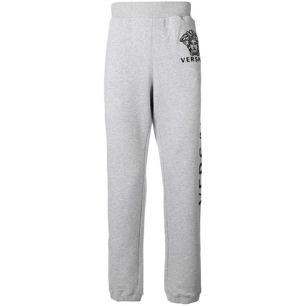 VERSACE Logo Track Pants, Light Grey/ Black-OZNICO