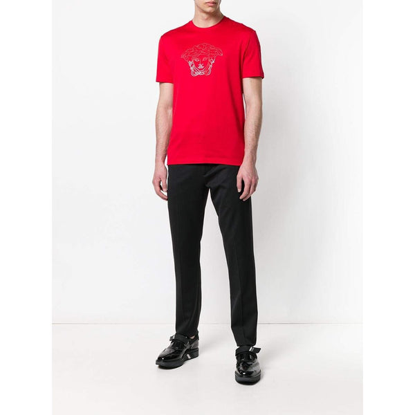 VERSACE Medusa Crystal-Embellished T-Shirt, Red-OZNICO