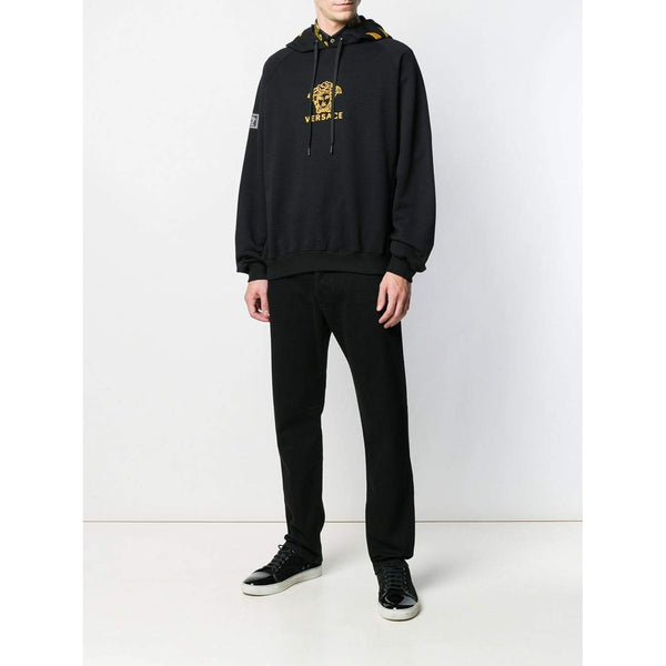 VERSACE Medusa Embroidered Hoodie, Black/ Gold-OZNICO