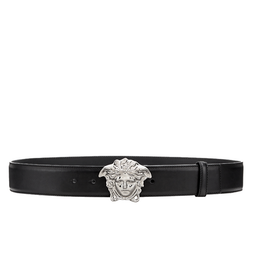 VERSACE Medusa Head Leather Belt, Black-OZNICO