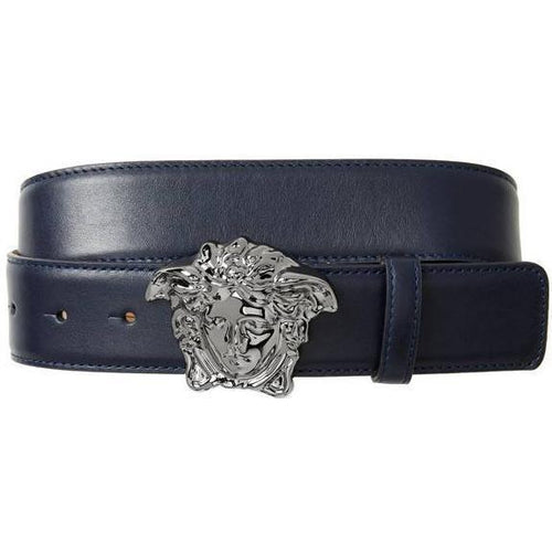 VERSACE Medusa Head Leather Belt, Navy-OZNICO