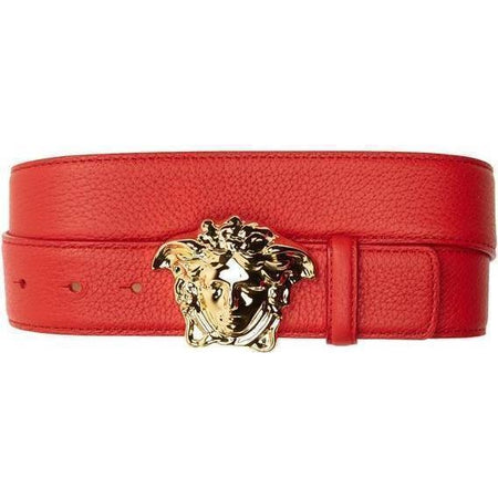 VERSACE Medusa Head Leather Belt, Black