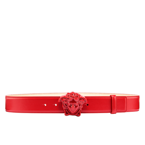 VERSACE Medusa head Leather Belt, Red-OZNICO