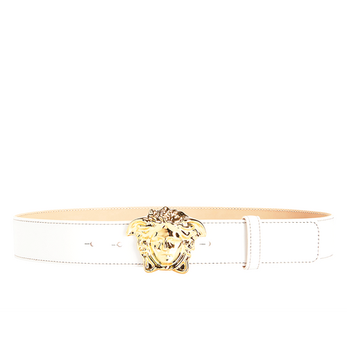 VERSACE Medusa Head Leather Belt, White-OZNICO