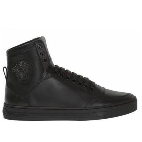 VERSACE Medusa High-top Sneakers, Black-OZNICO