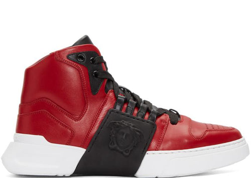 VERSACE Medusa Strap Hi-top Sneakers, Red-OZNICO