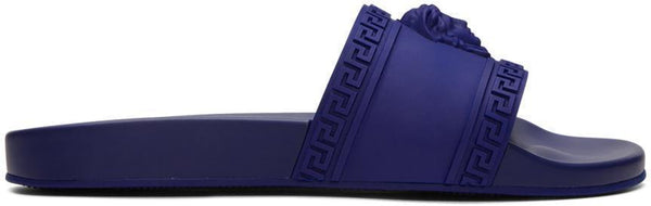 VERSACE Palazzo Medusa Pool Slides, Royal Blue-OZNICO