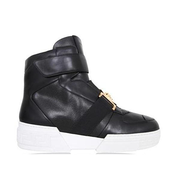 Versace Perforated High-top Sneakers, Black-OZNICO