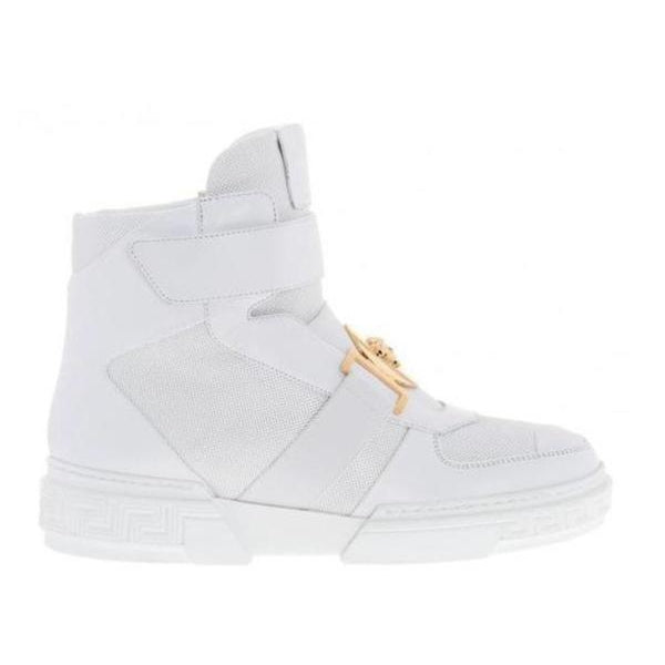 Versace Perforated High-top Sneakers, White-OZNICO