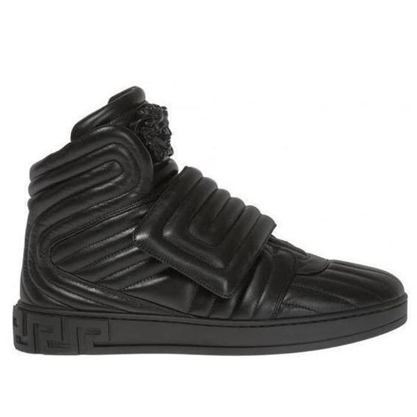 VERSACE Quilted High-top Sneakers, Black-OZNICO