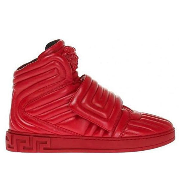 VERSACE Quilted High-top Sneakers, Geranium-OZNICO