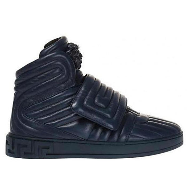 VERSACE Quilted High-top Sneakers, Navy-OZNICO