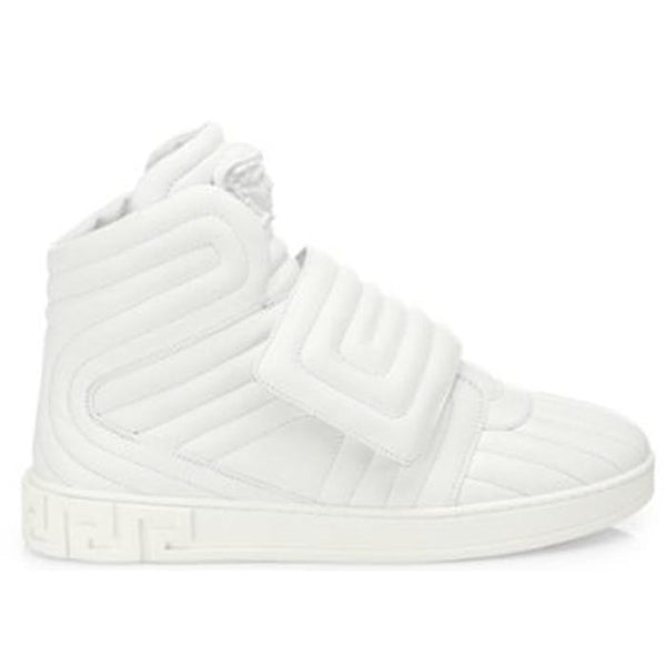 VERSACE Quilted High-top Sneakers, White-OZNICO