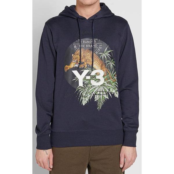 Y-3 Embroidered Leopard Hoody, Legend Blue-OZNICO