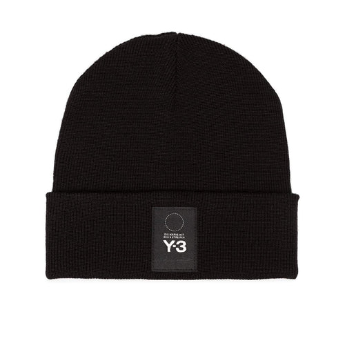 Y-3 Logo Patch Beanie, Black-OZNICO