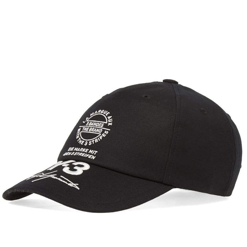 Y-3 Stacked Brand Cap, Black-OZNICO