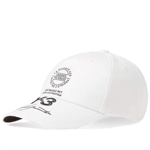 Y-3 Stacked Brand Cap, White-OZNICO