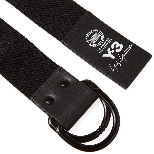 Y-3 Stacked Brand Elastic Belt, Black-OZNICO