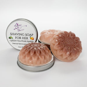Shaving Soap for Her Green Tea Pear Amber