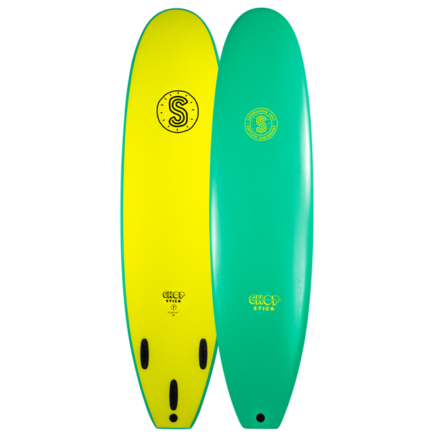 Softlite Soft Surfboards Chop Stick 7'6 Softboard  Jade Green / Fluro Yellow