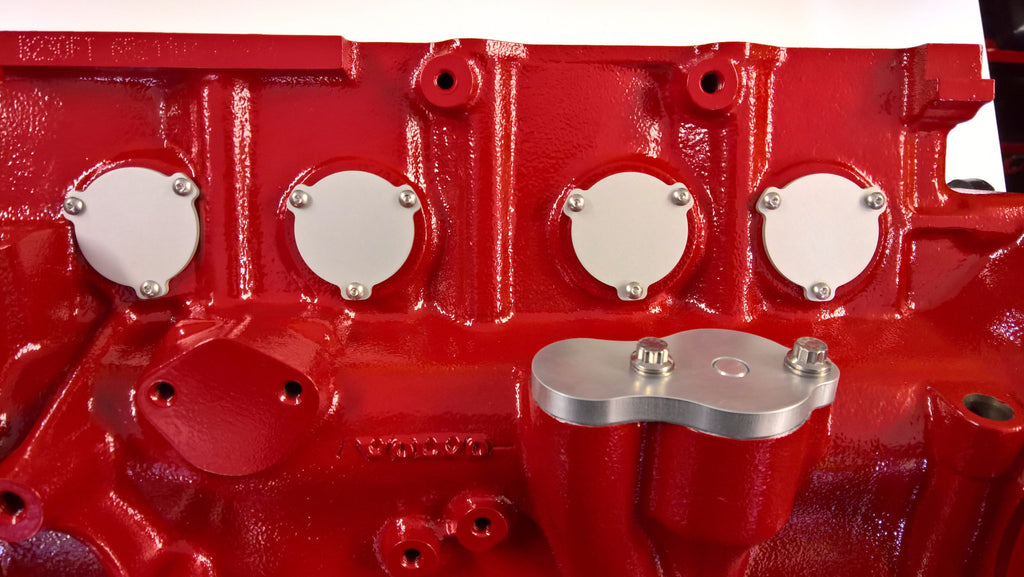 Volvo Red Block Freeze Plug Retainers - Blank, Clear Anodized