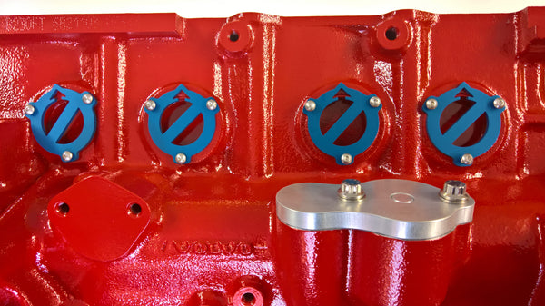 Volvo Red Block Freeze Plug Retainers - Iron Mark, Blue Anodized