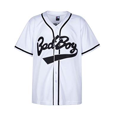 The Notorious B.I.G. Bad Boy Biggie Smalls  90s Hip Hop Baseball Jersey - White