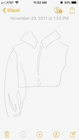 iphone fashion sketch and illustration on notes