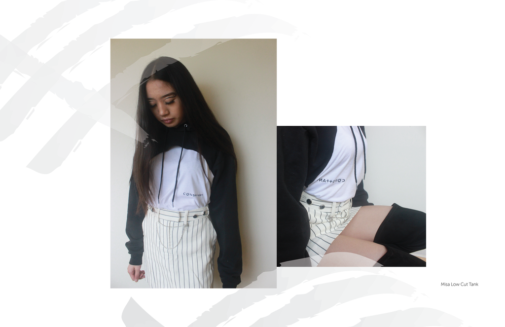 DIY cut hoodie-pinstripe skirt-thigh high boots-blog styling-calligraphy-art-tanktop-consttant