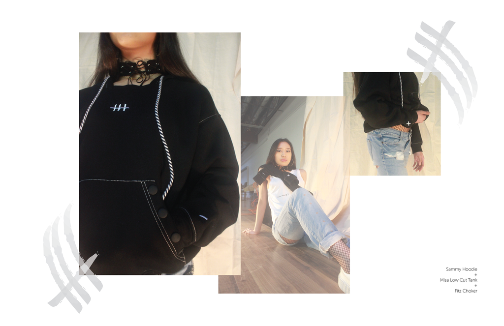 Hoodie-Hood-Soft Jacket-Outerwear-Black and White-Embroidery-Snap Closure Pocket-Streetwear
