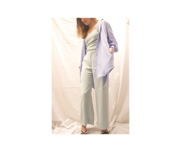 women's button down with vintage dior pant suit