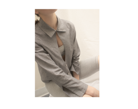 grey shirts & blouses for women