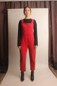 Juno Zippered Jumpsuit ~ Scarlet