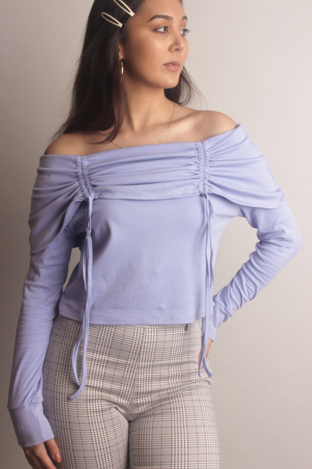 Elise Off-the-Shoulder Top with Ruching~ Lilac