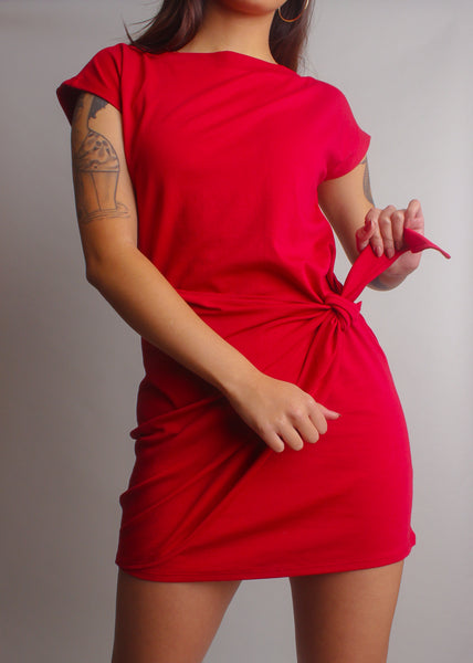 simple minimal refined red wrap dress