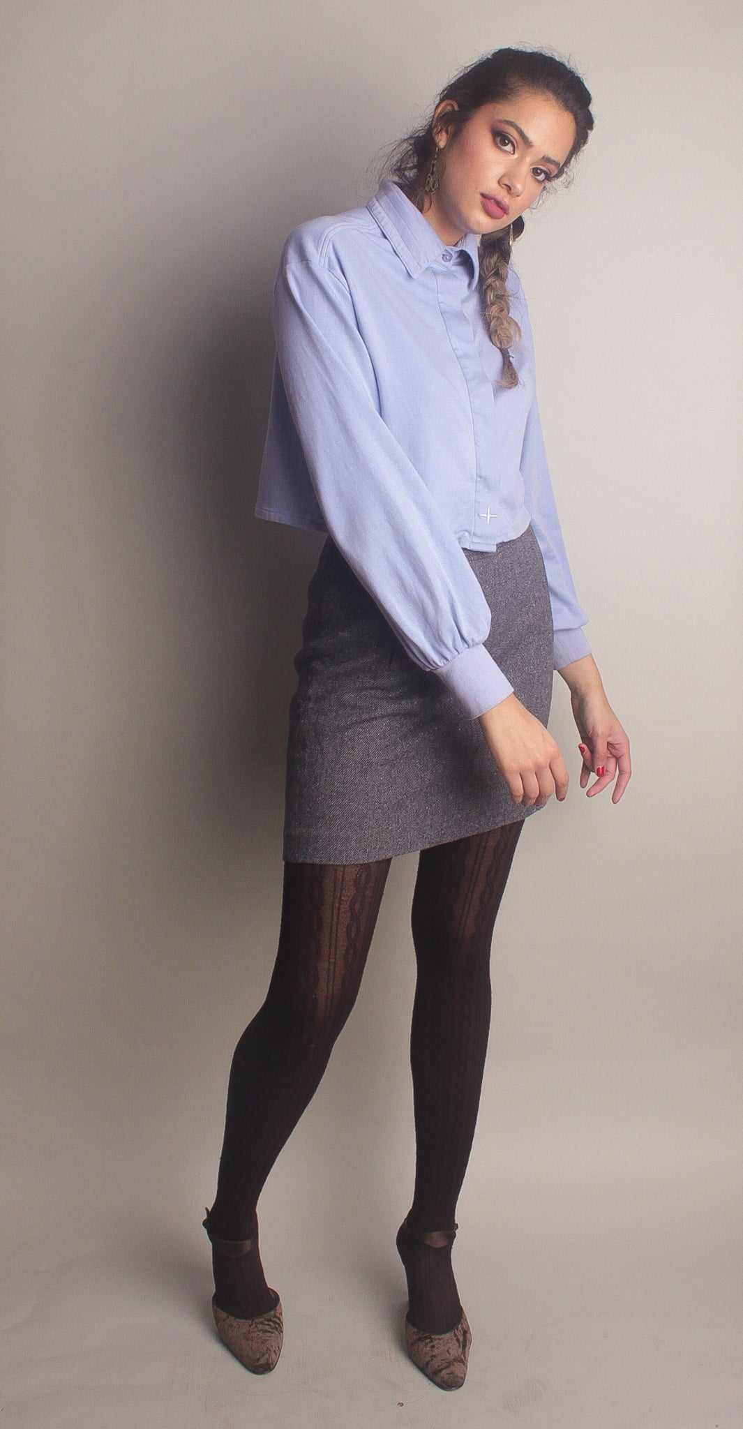 Jorja Button Up Shortie ~ Lilac
