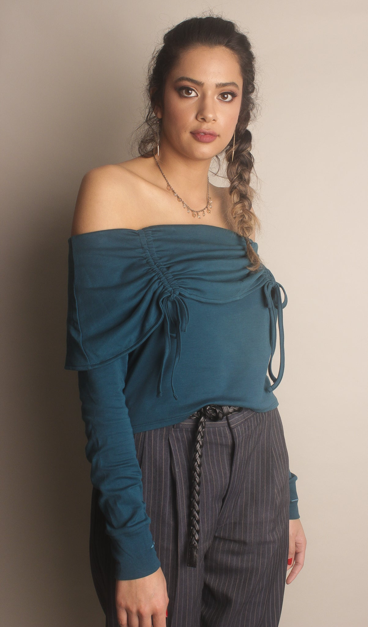 Elise Off-the-Shoulder Top ~ Deep Jade