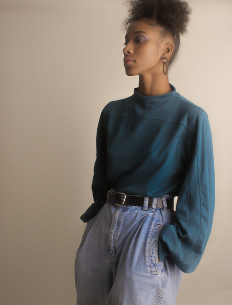 Emmie Mock Turtleneck Blouse ~ Deep Jade