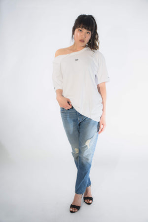 off the shoulder white pima cotton knit tshirt