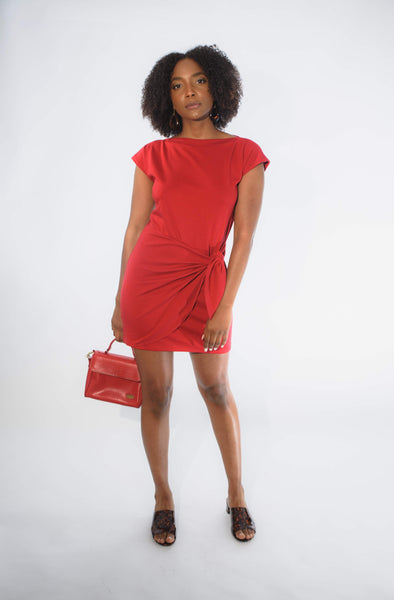 adjustable wrap dress in scarlet