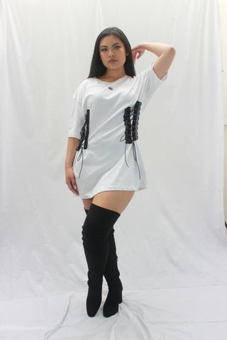 double hand sewn corset tshirt consttant made clothing