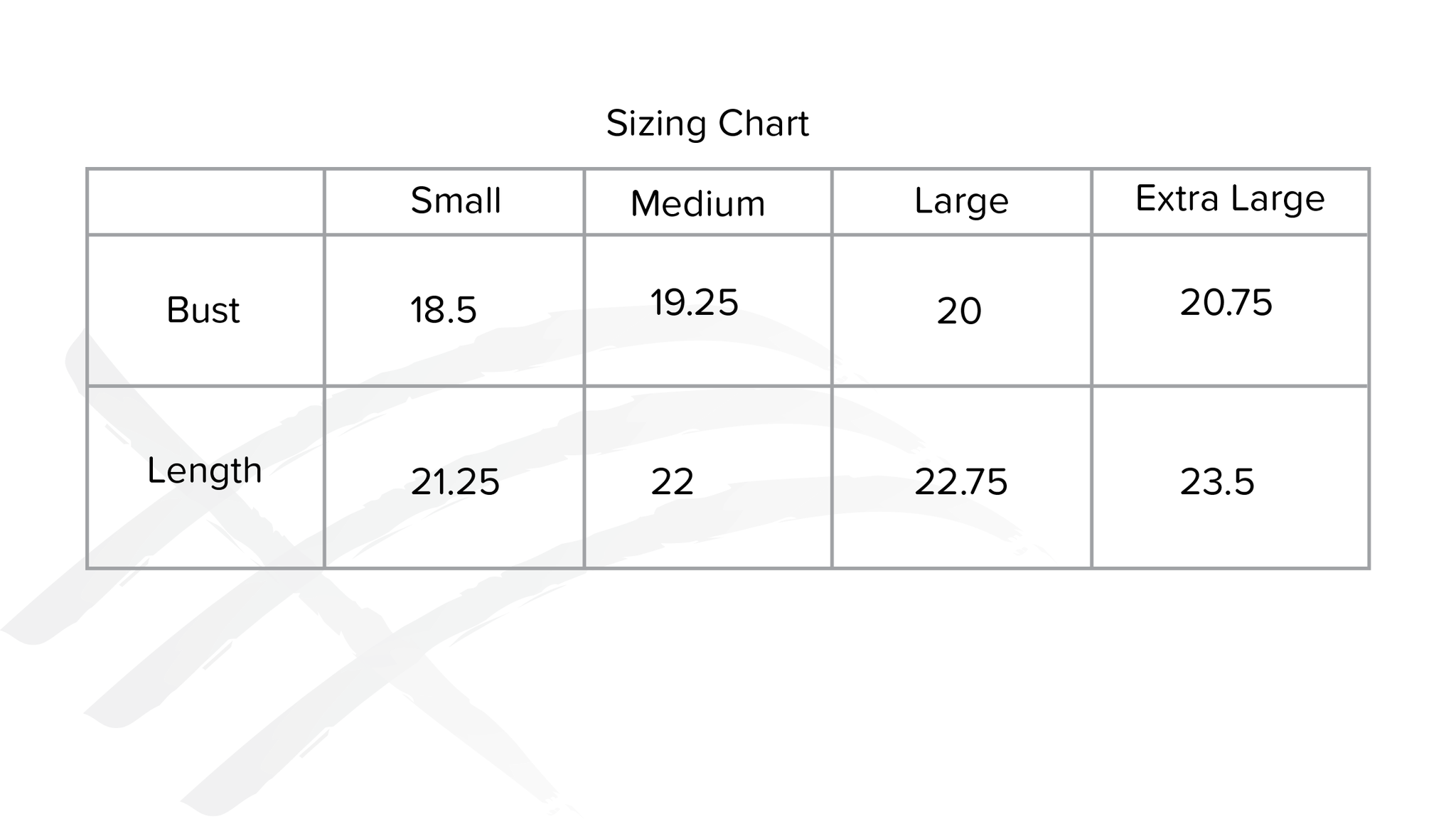 sizing chart for consttant made clothing white t-shirt with embroidery
