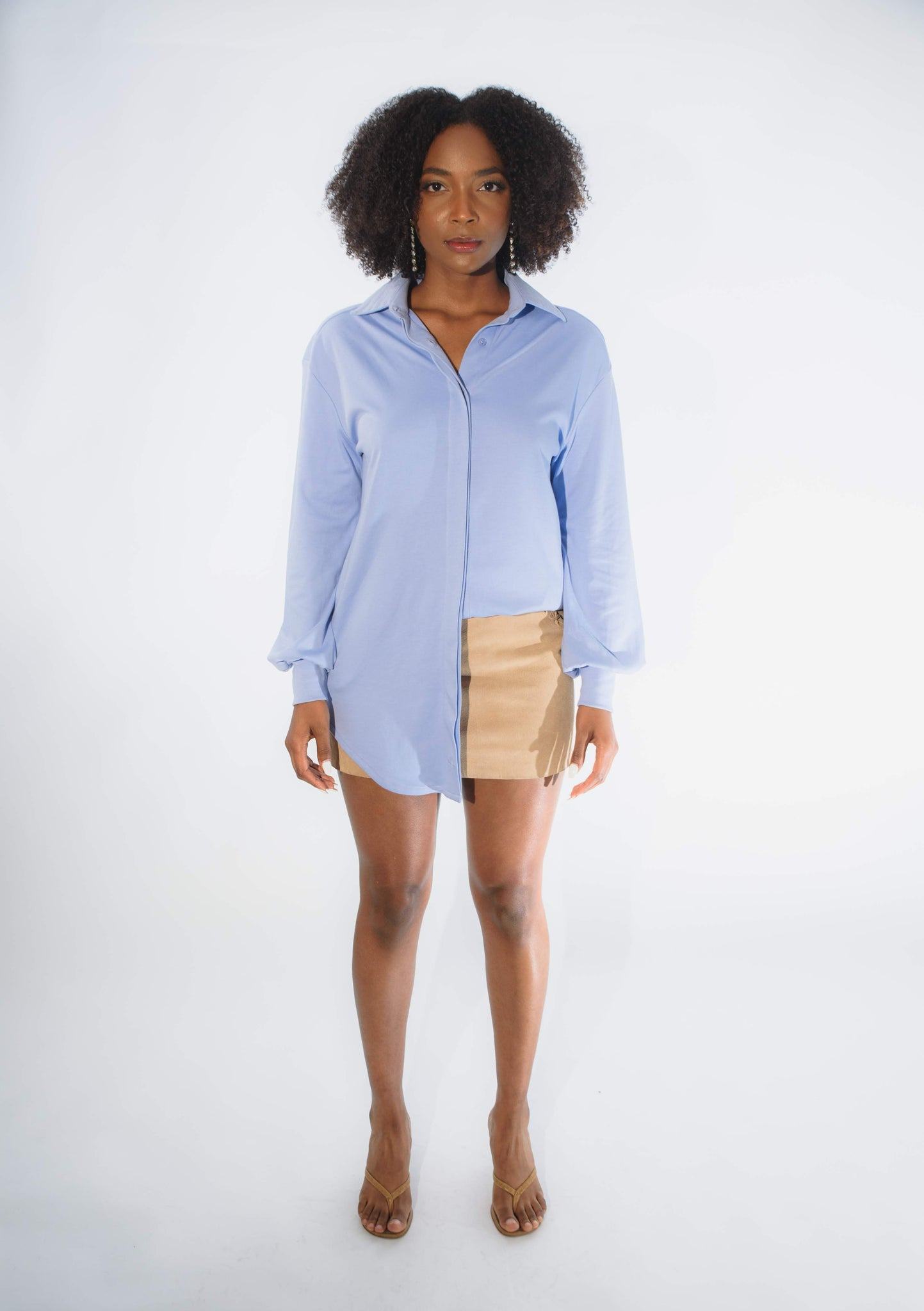 womens top comfortable button up pima cotton